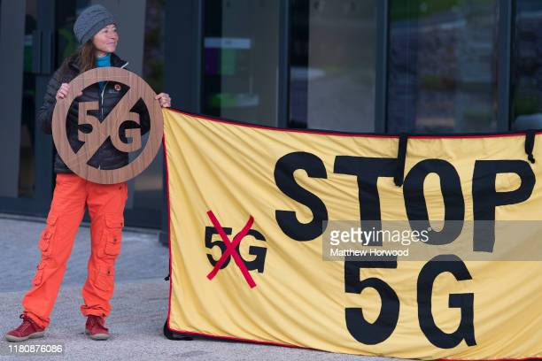 A protestor protests against 5g mobile phone networks at the Green Party Autumn conference on October 4 2019 in Cardiff United Kingdom