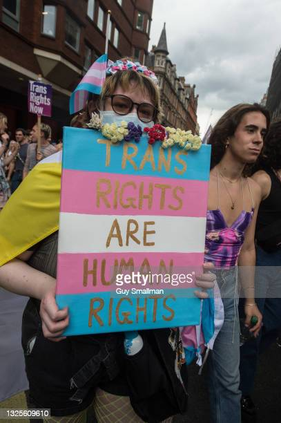 Protestor reacts to the camera as thousands attend the third Trans Pride march on June 26, 2021 in London, England.