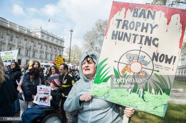 Protestor seen in an animal costume during the The 5th Global No Market No Trade March against extinction and trophy hunting for Elephants Rhinos...