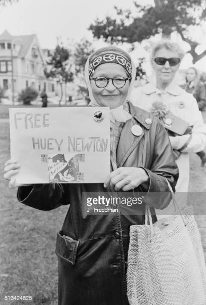 A protestor with a 'Free Huey Newton' sign USA 1968 Huey P Newton was an AfricanAmerican activist and cofounder of the Black Panther Party