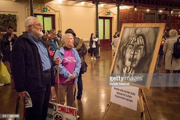 Protestors against refugee policy on June 19 2016 in Sydney Australia The rally was organised as a show of public support for the closure the Manus...
