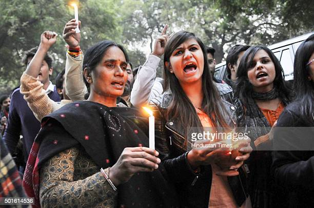 Protestors along with the mother of Nirbhaya taking out candle march on the third anniversary of the December 16 gangrape for speedy trial of the...