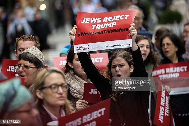 Protestors and members of a Jewish social action group rally against what they call hateful and violent rhetoric from Republican presidential...