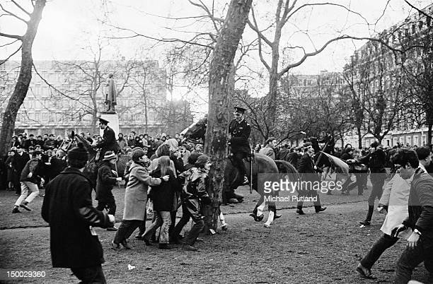 Protestors and mounted police at an AntiVietnam War demonstration outside the US Embassy in Grosvenor Square London 17th March 1968 The demonstration...