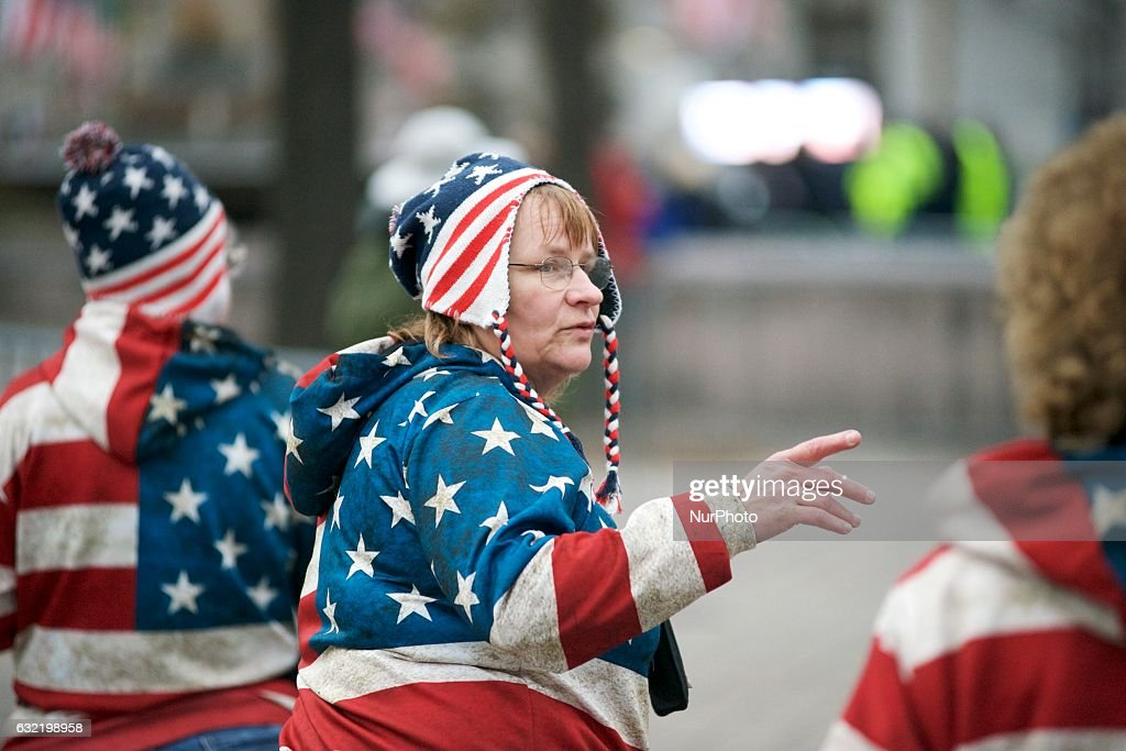 Protestors and supporters gather along the of the Parade Route and at the National Mall in Washington D.C., ahead of the Inauguration of Donald Trump as the 45th President of the United States, on Jan. 20th, 2017.