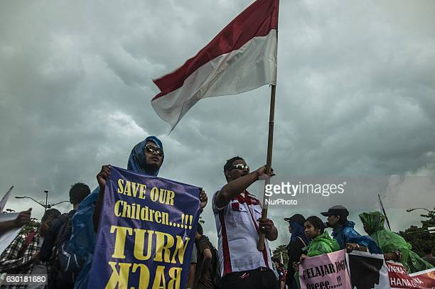 Protestors are protesting about violence by students in Yogyakarta Indonesia on December 17 2016 This action to reject violence committed by students...