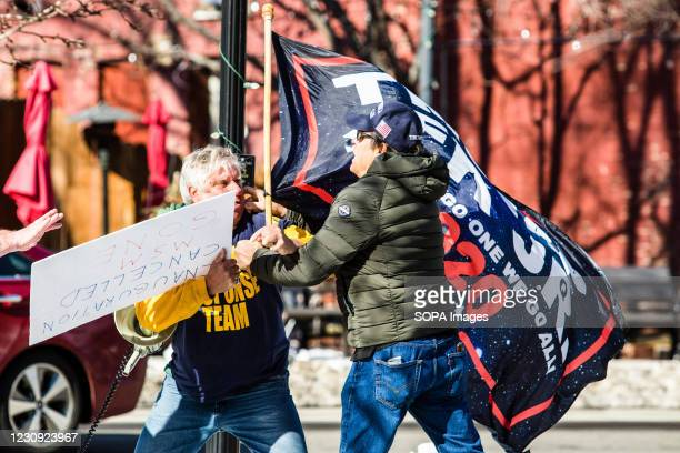 Protestors are seen arguing during the demonstration. Protesters gathered at the state's legislative building to protest various causes such as the...