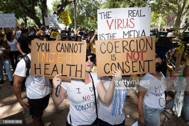 Protestors are seen at an anti-vaccination rally in Sydney on February 20, 2021 in Sydney, Australia. The protestors, who numbered in the hundreds,...