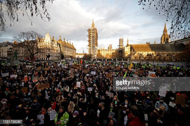 Protestors assemble in Parliament Square to demonstrate against Government's Police, Crime, Sentencing and Courts Bill, being debated in Parliament...