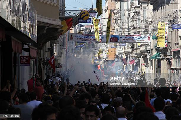 Protestors assembling on İstiklal Caddesi in Istanbul, near Taksim Square to protest the authoritarian stance of Prime Minister Recep Tayyip...