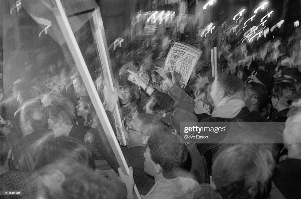 Protestors at a demonstration against the Poll Tax, Islington, London, 13th March 1990.