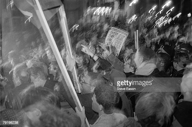 Protestors at a demonstration against the Poll Tax Islington London 13th March 1990
