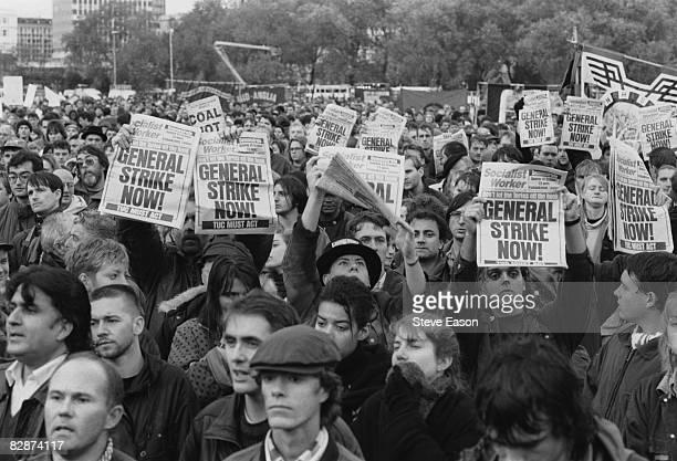 Protestors at a miners' demonstration and rally call for a general strike, 24th October 1992.