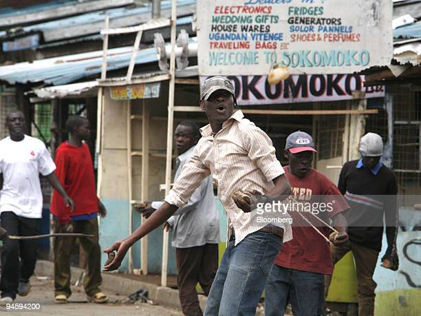 Protestors attack the security forces with stones during street riots in the suburbs of Mathare in Nairobi Kenya on Thursday Jan 17 2008 Kenya's...