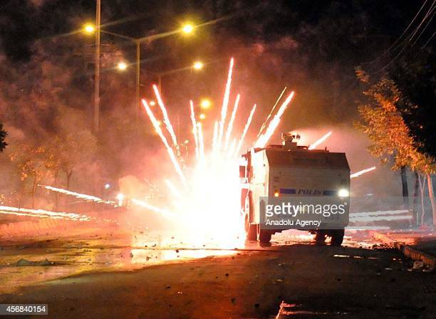 Protestors attack Turkish police with fireworks, stones, molotov cocktail and other materials during the unauthorized protests, taken place in Mus...