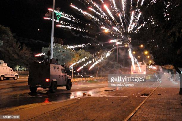 Protestors attack Turkish police with fireworks stones molotov cocktail and other materials during the unauthorized protests taken place in Mus...