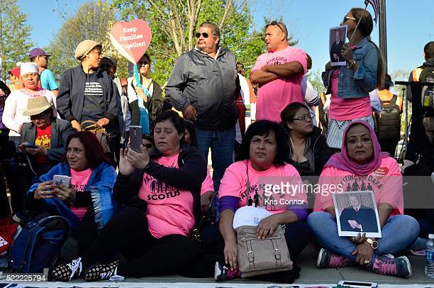 Protestors attend the Fight For Families Rally in front of the Supreme Court of the United States on April 18 2016 in Washington DC
