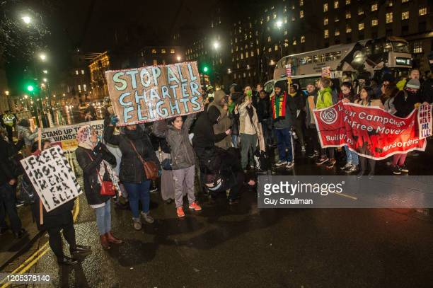 Protestors block Whitehall on February 10, 2020 in London, England. Protestors attend a demonstration called by the Movement For Justice outside...