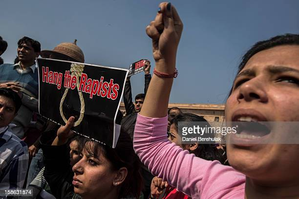 Protestors chant antipolice slogans during a protest against the Indian governments reaction to recent rape incidents in India in front of...