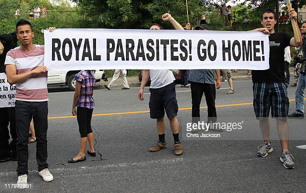 Protestors chant outside SainteJustine University Hospital on July 2 2011 in Montreal Canada The newly married Royal Couple are on the third day of...