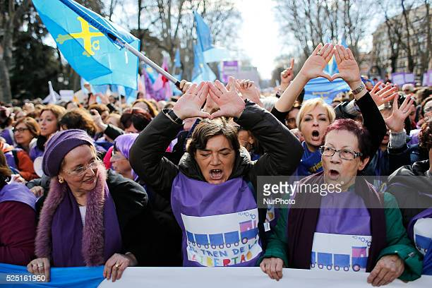 protestors chant slogans in favor of the abortion during a protest in Madrid Spain Saturday Feb 1 2014Dozens of women arrive this afternoon from...