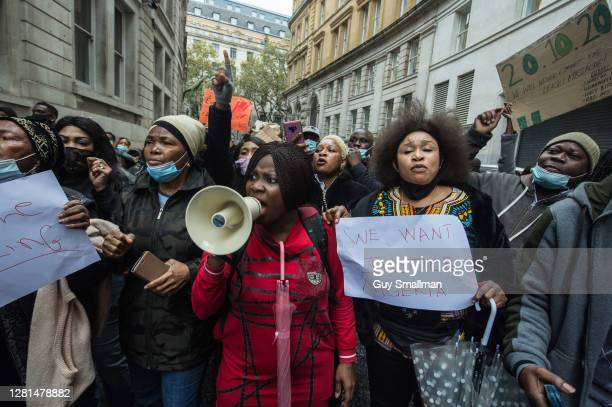 Protestors chant slogans outside the Nigerian High Commission as up to one thousand British Nigerians protest against corruptions and killings in...