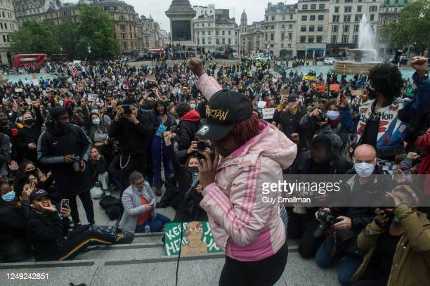 Protestors cheer speakers in Trafalgar Square as several thousand people attend a Black Lives Matter protest on June 12, 2020 in London, England. The...