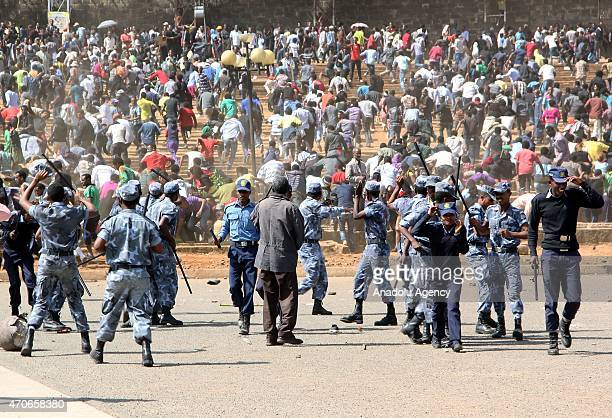 Protestors clash wiith the Ethiopian Security Forces during a demonstration against Daesh killings at Meskel Square in Addis Ababa Ethiopia on April...