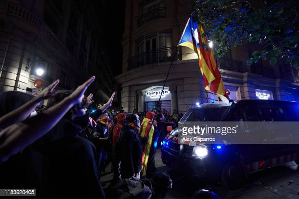 Protestors clash with Catalan Autonomous Police during a protest on October 26 2019 in Barcelona Spain Disturbances followed thirteen days of...