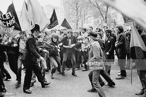 Protestors clash with police at an antiVietnam War demonstration in London 1967
