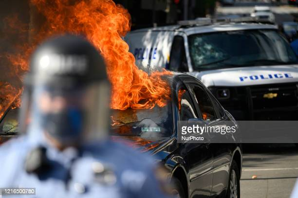 Protestors clash with police near City Hall, in Philadelphia, PA on May 30, 2020. Cities around the nation see thousands take to the streets to...