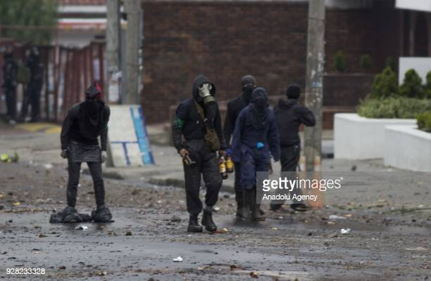 Protestors clash with riot police after clashes broke out between students and riot police during a protest due to dissatisfaction of educational...