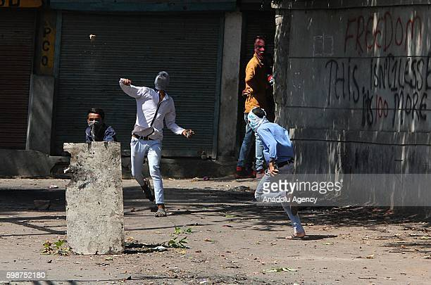 Protestors clash with security forces during the funeral ceremony of 12 years oldDanishSultanin Srinagar the summer capital of Indian controlled...
