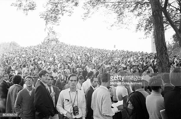 Protestors congregate in Lincoln Park during from the Democratic National Convention in August 1968 in Chicago Illinois