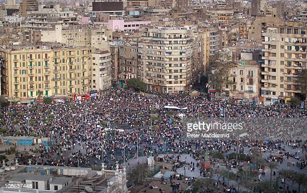 Protestors defy the curfew in Tahrir Square on January 31 2011 in Cairo Egypt As President Mubarak struggles to regain control after six days of...