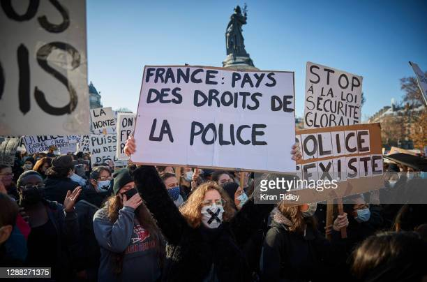 Protestors demonstrate against the French Government's Global Security Law as thousands of people turn out at Place de la Republique to demonstrate...