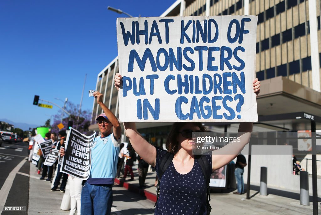Protestors demonstrate against the separation of migrant children from their families in front of the Federal Building on June 18, 2018 in Los Angeles, California. U.S. Immigration and Customs Enforcement arrested 162 undocumented immigrants last week during a three-day operation in Los Angeles and surrounding areas.