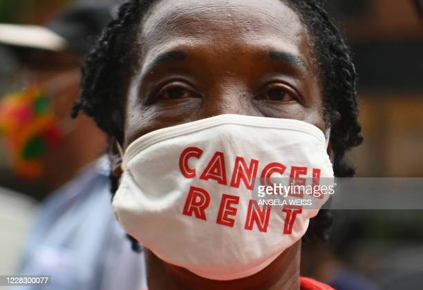 Protestors demonstrate during a 'No Evictions, No Police' national day of action protest against law enforcement who forcibly remove people from...