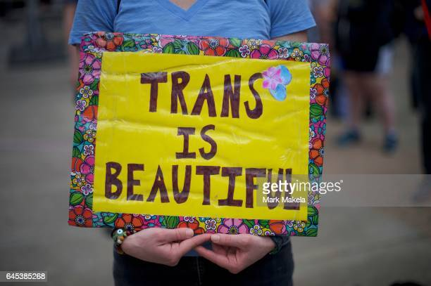 Protestors demonstrate during a rally against the transgender bathroom rights repeal at Thomas Paine Plaza February 25 2017 in Philadelphia...
