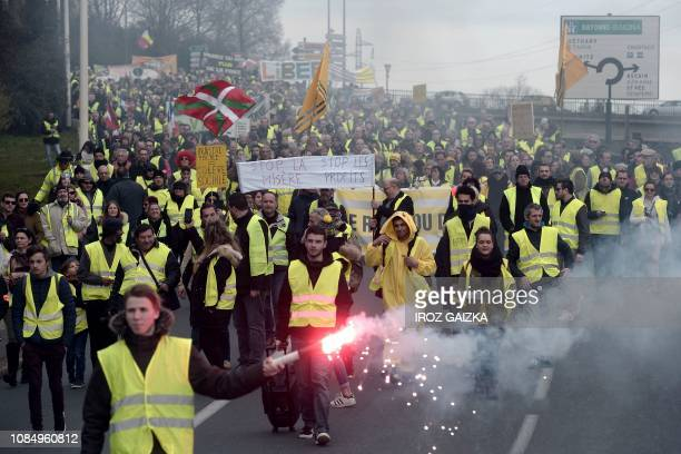 Protestors demonstrate in Saint-Jean de Luz, southwestern France, during an anti-government demonstration called by the Yellow Vest movement on...