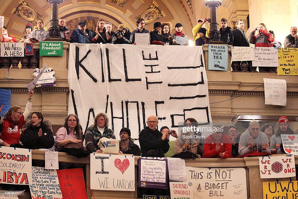 Protests Continue As Wisconsin Budget Impasse Drags On : News Photo