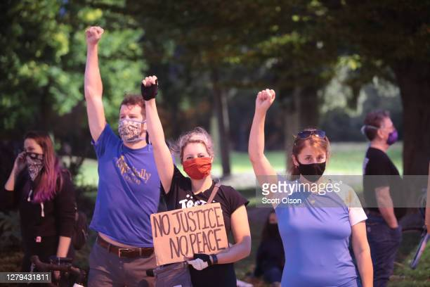 Protestors demonstrate near the Wauwatosa City Hal on October 09, 2020 in Wauwatosa, Wisconsin. The city has faced three days of demonstrations,...