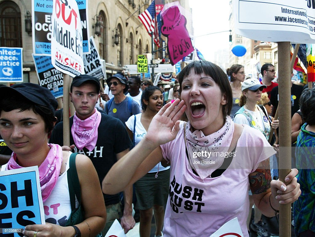 Protestors Demonstrate On Eve Of RNC : Stock Photo