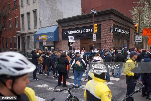 Protestors demonstrate outside a Center City Starbucks on April 15 2018 in Philadelphia Pennsylvania Philadelphia Police arrested two black men in...