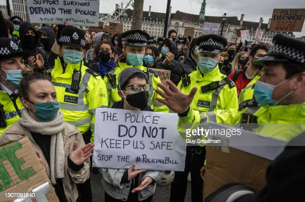 Protestors demonstrate outside Scotland Yard over the treatment of people by police at the Sarah Everard vigil the day before on March 14, 2021 in...