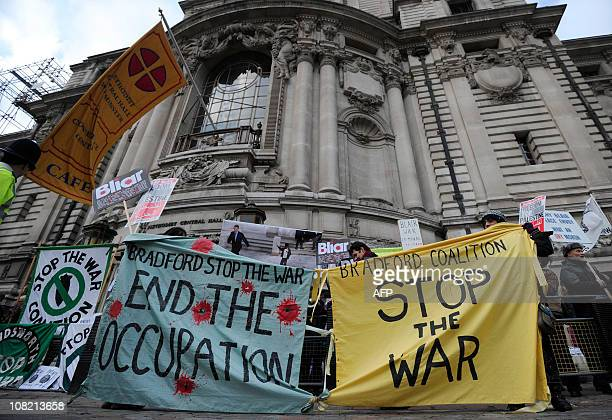 Protestors demonstrate outside the Central Methodist Hall as former British Prime Minister Tony Blair attends the Iraq Inquiry at the Queen Elizabeth...