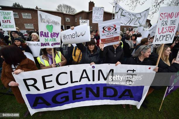 Protestors demonstrate outside the home of Ulster rugby at Kingspan stadium on April 13 2018 in Belfast Northern Ireland The demonstration entitled...