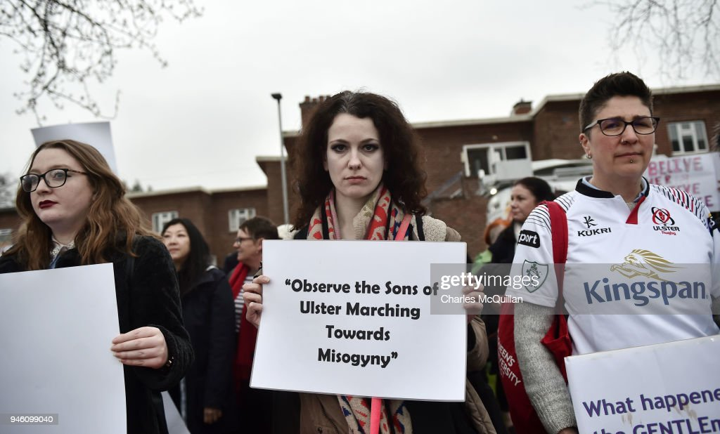 'I Believe Her' Protest Held Outside Ulster Rugby's First Home Game : News Photo