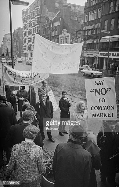 Protestors demonstrating against Britain's proposed membership of the European Economic Community 22nd January 1972 Their banners read 'Say No To...