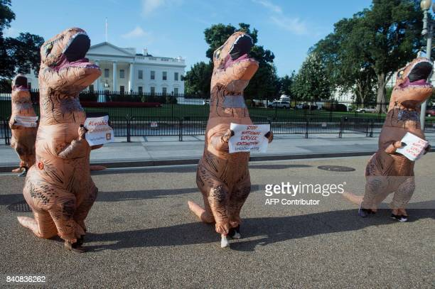 Protestors dressed as dinosaurs demonstrate in front of the White House in Washington DC on August 30 2017 against proposed budget cuts to national...